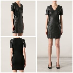 Theory Serto L Classical Lamb Leather Combo Dress